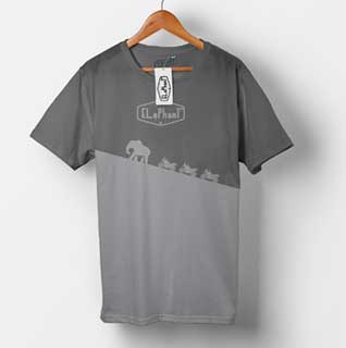 Elephant Moto Costa Rica Gray T-Shirt with walking elephants